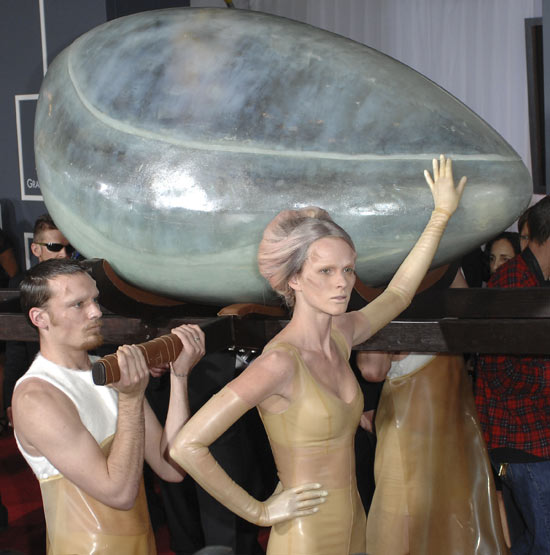 Lady GaGa in an egg at the Grammys
