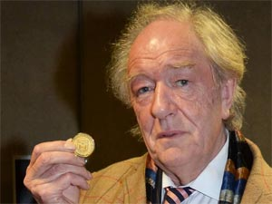 Sir Michael Gambon is presented with the Gold Medal for Honorary Patronage in Dublin, Ireland