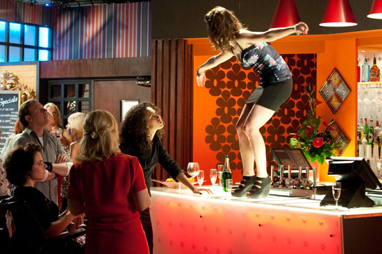 Kylie dances on the bar at her hen do