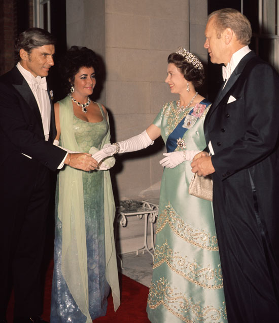John Warner and Liz Taylor meet the Queen