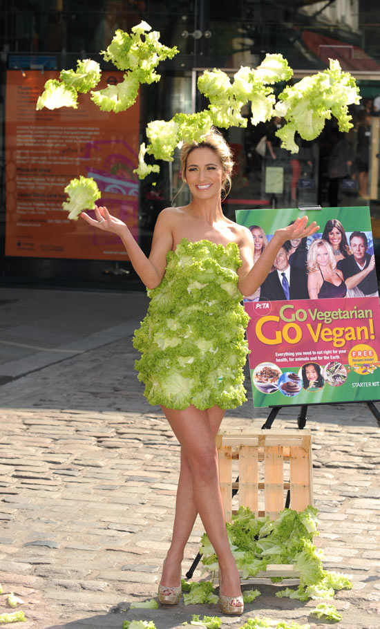 Chantelle Houghton in a lettuce dress