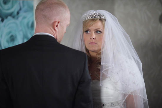EastEnders - Tanya Branning (Jo Joyner) in her wedding dress with Max Branning (Jake Wood)