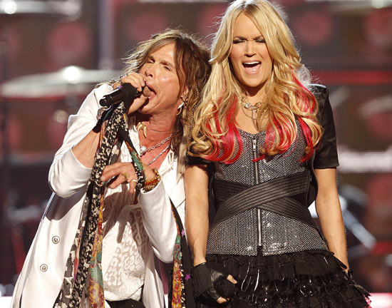 Steven Tyler and Carrie Underwood perform at the 46th Annual Academy of Country Music Awards