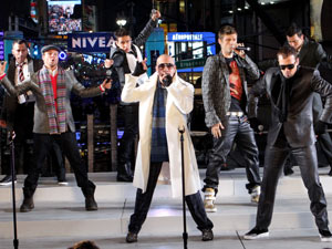 The New Kids on the Block and The Backstreet Boys perform in Times Square