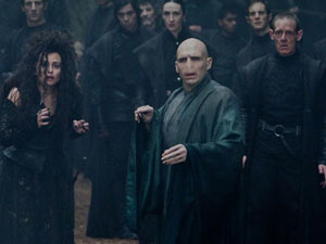 Jason Isaacs (Lucius Malfoy), Helena Bonham Carter (Bellatrix Lestrange) and Ralph Fiennes (Lord Voldemort). 