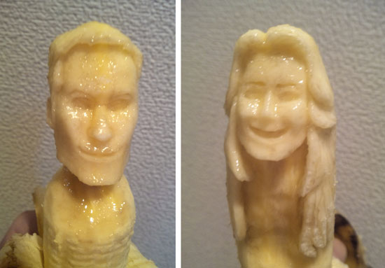 Banana sculptures of Prince William and Kate Middleton