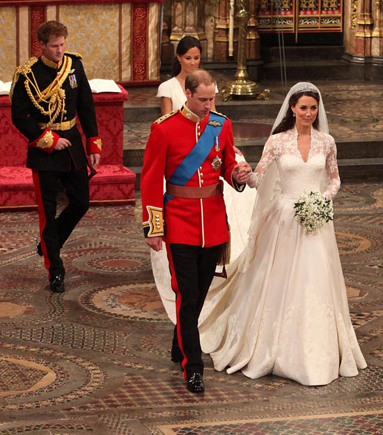 Duke and Duchess exit Westminster Abbey