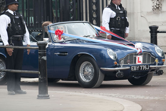 Royal couple in Aston Martin