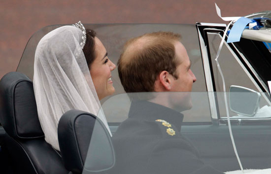 Prince William and Kate Middleton leave Buckingham Palace