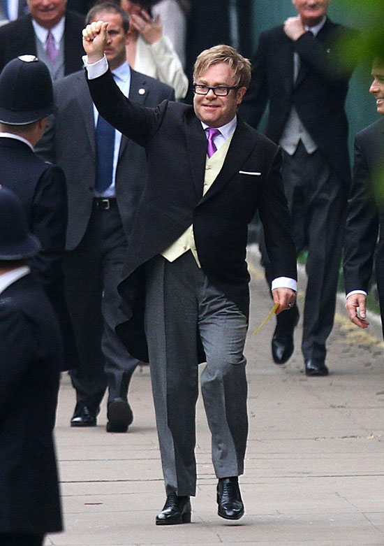 Sir Elton John arrives at Westminster Abbey