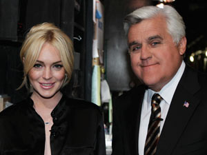 Lindsay Lohan and Jay Leno backstage on 'The Tonight Show with Jay Leno'