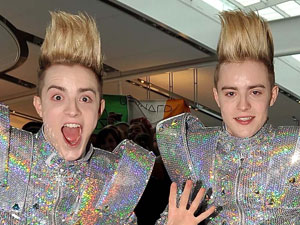 Jedward at Dublin airport on their way to Germany for the &#39;Eurovision Song Contest&#39;