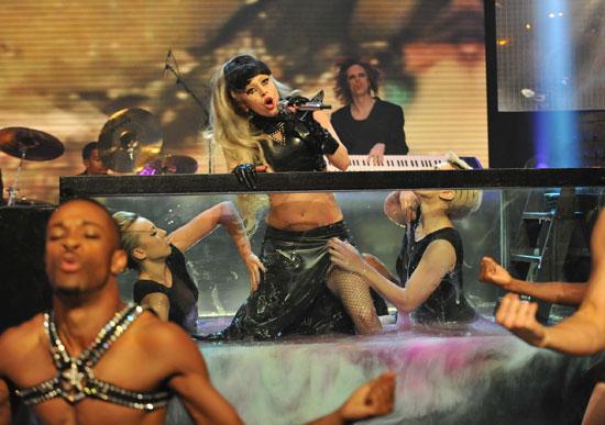 Gaga on a platform
