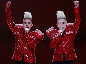 Jedward perform in Eurovision qualifying