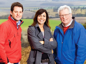 Countryfile presenters Matt Baker, Julia Bradbury, and John Craven