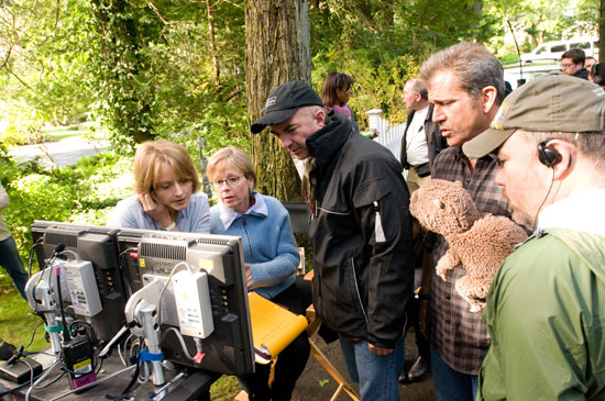 The cast and crew between takes