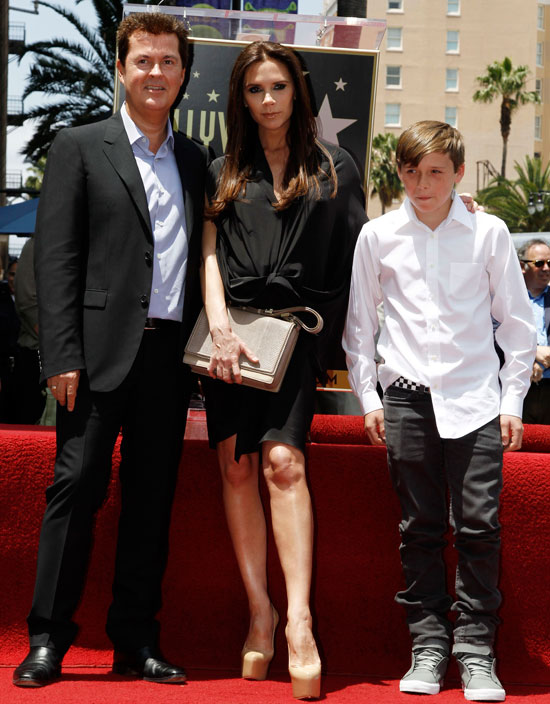 Simon Fuller with Victoria and Brooklyn Beckham