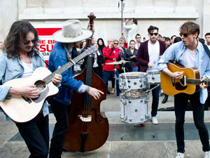 Razorlight performing a &#39;Big Busk&#39; Event at St Martin In The Field&#39;s courtyard, London