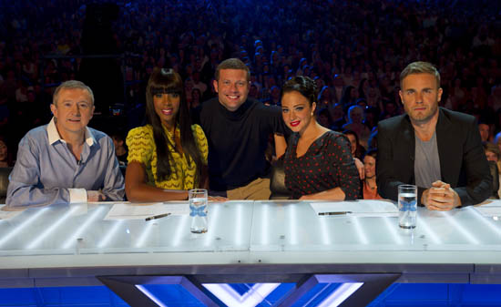 The judges and Dermot at the Birmingham X Factor auditions