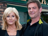 Stella and Karl outside the Rovers in Coronation Street
