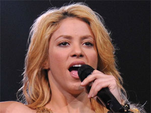 Singer Shakira performing live in Nice for the French leg of her 'The Sun Comes Out' world tour
