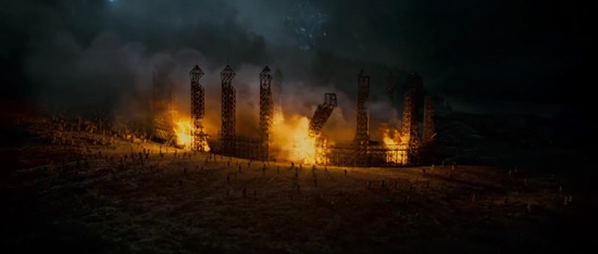 The Quidditch pitch in flames.