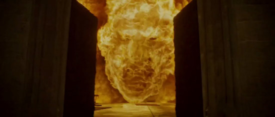 Voldemort's face in the fire at the Great Hall.