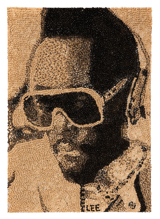Will.i.am portait made from black eyed peas