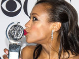 Tonys 2011: The Book of Mormon actress Nikki M James poses with her award for &#39;Best Performance By An Actress In A Featured Role In A Musical&#39; 