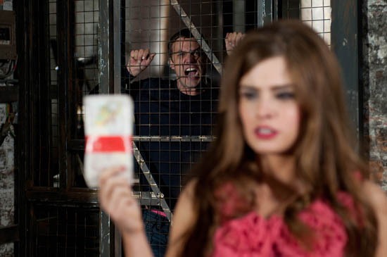 Brendan Brady (Emmett Scanlan), Warren Fox (Jamie Lomas), Mitzeee Minniver (Rachel Shenton) and Dodger Savage (Danny Mac) in a dispute over cash