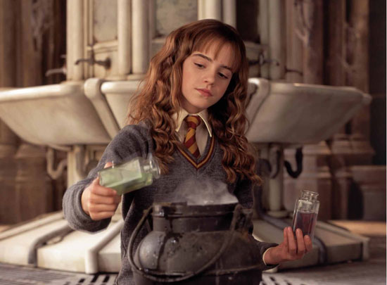 Hermione mixes some potions
