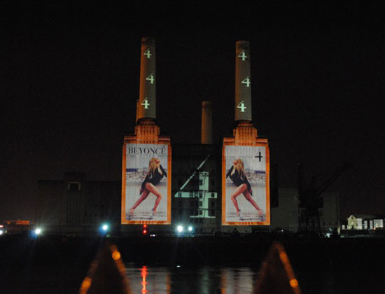 Beyonce's album projected onto Battersea power station