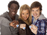 Blue Peter presenters Andy Akinwolere, Helen Skelton and Barney Harwood