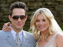 Kate Moss wears a sleeveless bridal gown by controversial fashion designer John Galliano as she marries musician boyfriend Jamie Hince.