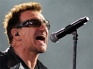 Bono of U2 performing in Miami during their 360 Degree world tour, Florida