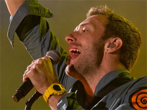 Chris Martin of Coldplay performing with the band at Portugal's Optimus Alive festival