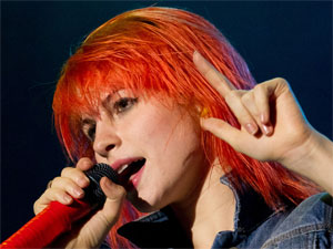 Hayley Williams of Paramore performing with the band at Portugal's Optimus Alive festival