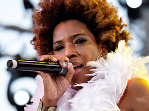 Macy Gray performing on stage at the Nice Jazz Festival in France