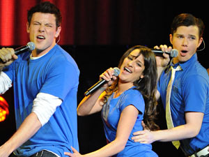 Cory Monteith, Lea Michele and Chris Colfer perform at Glee Live