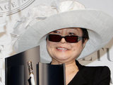 Yoko Ono receives the trophy of Montblanc de la Cuture Art Patronage award in Tokyo.