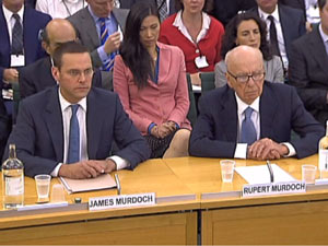 James Murdoch and Rupert Murdoch at the Parlimentary Committee hearing