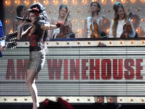 Amy Winehouse and Mark Ronson performing at the Brit Awards, London 2008.