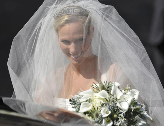Zara Phillips arriving for her wedding to Mike Tindall at Canongate Kirk in Edinburgh.