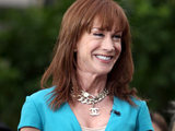 Kathy Griffin films an appearance for the entertainment television news programme 'Extra' at The Grove Los Angeles, California.