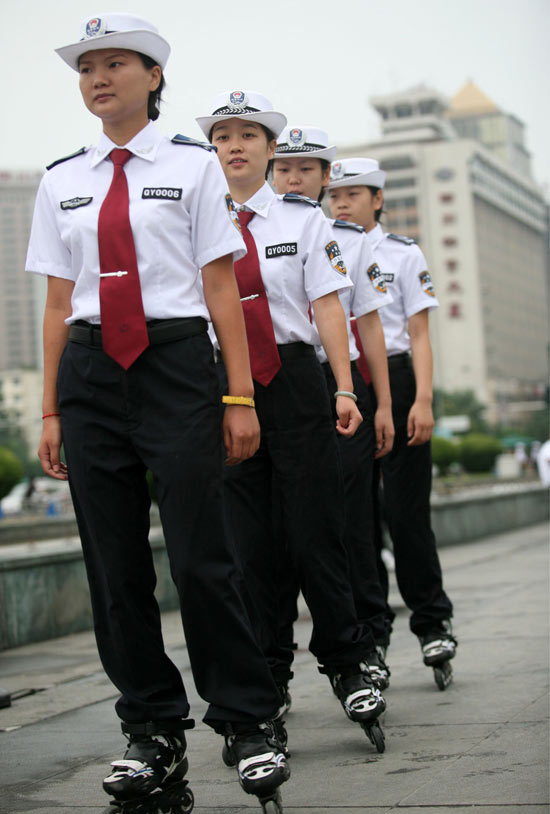 Rollerblading police women in China