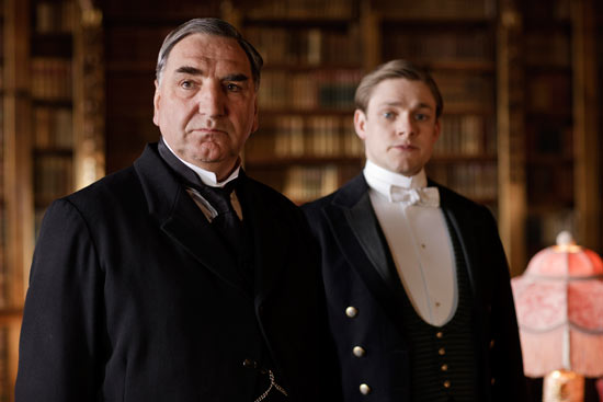 Downton Abbey S02E01: Mr Carson (Jim Carter) and William Mason (Thomas Howes)