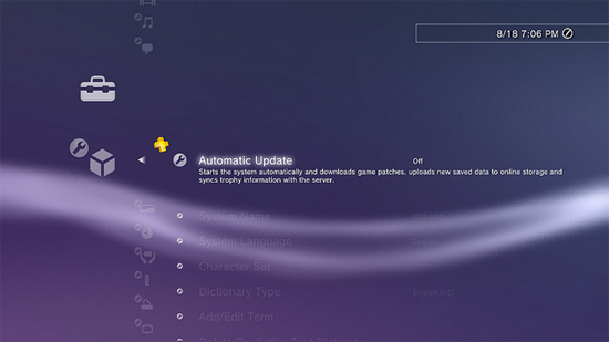 PlayStation 3 Automatic Update