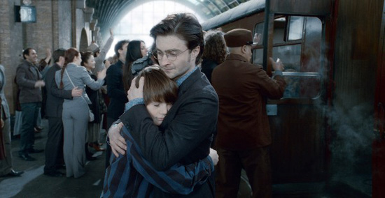 Harry Potter hugs Albus Severus Potter