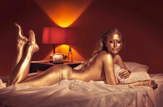 Holly Valance painted gold