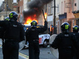 Riots taking place in Hackney, East London